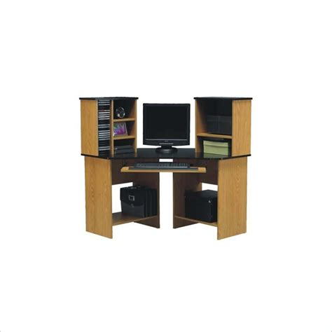 Oak Corner Computer Desk With Hutch Ameriwood 42 Quot Wood Corner Computer Desk With Hutch In Oak 49652
