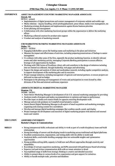 Marketing Associate Resume by Marketing Manager Associate Resume Sles Velvet