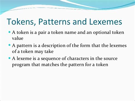 pattern in lexical analysis 02 chapter 3 lexical analysis