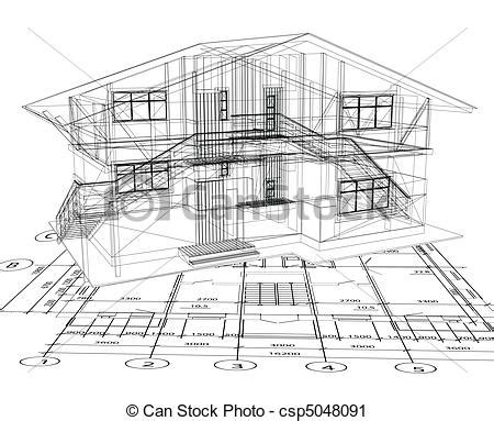 House Plans For Free by Vector Clip Art Of Architecture Blueprint Of A House Vector Architecture Csp5048091