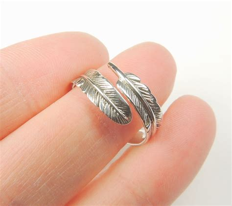 sterling silver feather wrap ring feather ring by