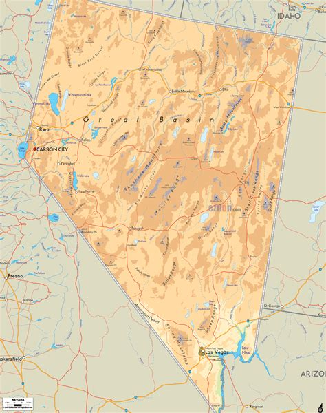physical map  nevada ezilon map