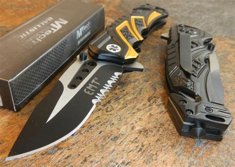 Mtech Box mtech ballistic assisted opening rescue emt black glass breaker rescue knife new ebay