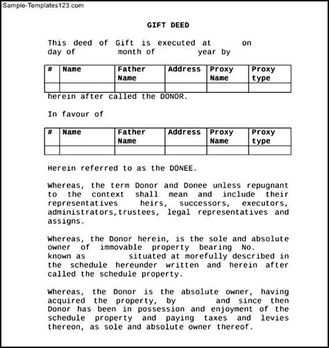 format gift deed shares deed of gift form sle templates sle templates