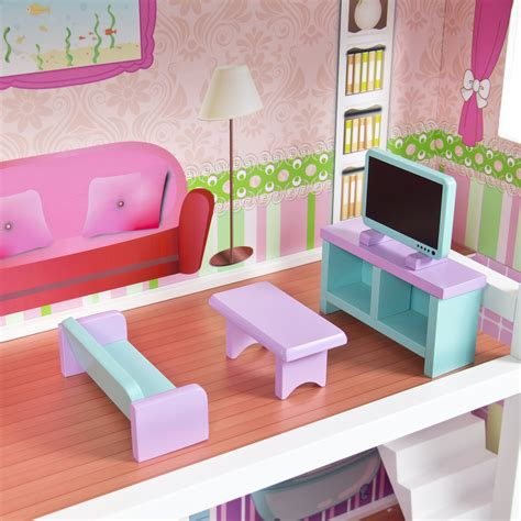 pink dolls house furniture large children s wooden dollhouse fits barbie doll house pink with furniture ebay