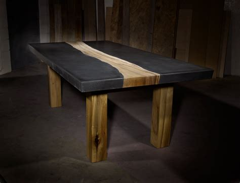custom concrete table wood inlay concrete table