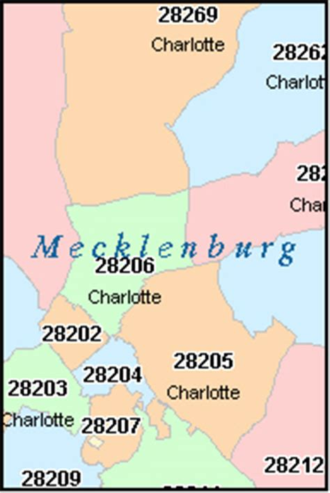 printable zip code map for charlotte nc charlotte north carolina nc zip code map downloads