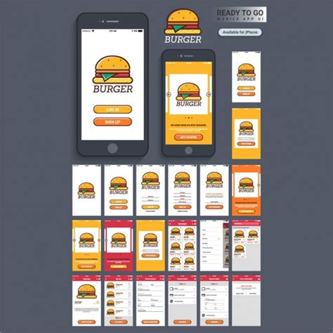 design application mobile application design with burger vector premium