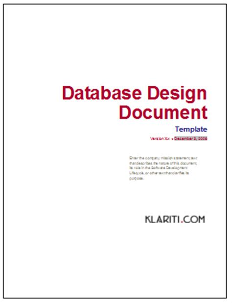 Database Design Document Template Microsoft Word Excel Doc Xls Database Design Template