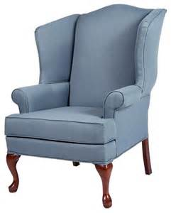 erin blue wing back chair traditional living room
