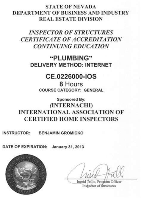 Plumbing Inspector Certification by How To Become A Certified Home Inspector In Nevada