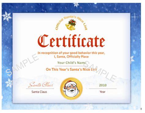 printable santa s nice list certificate christmas letter