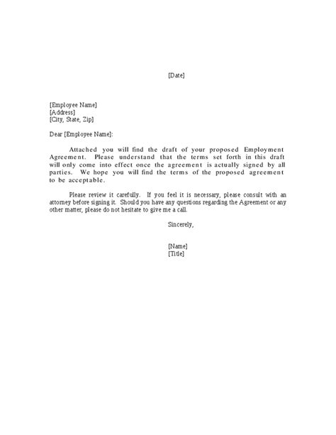 Exle Letter Of Employment Contract Employment Agreement Cover Letter Hashdoc