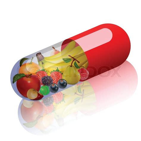 fruit vitamins illustration of fruits in capsule concept vitamin from