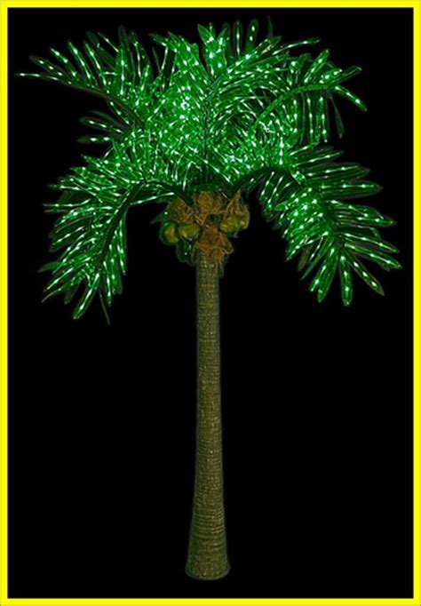 Outdoor Light Up Palm Tree 10ft Artificially Lighted Led Outdoor Palm Tree Tropical Tiki Decoration Less Than A 1 2