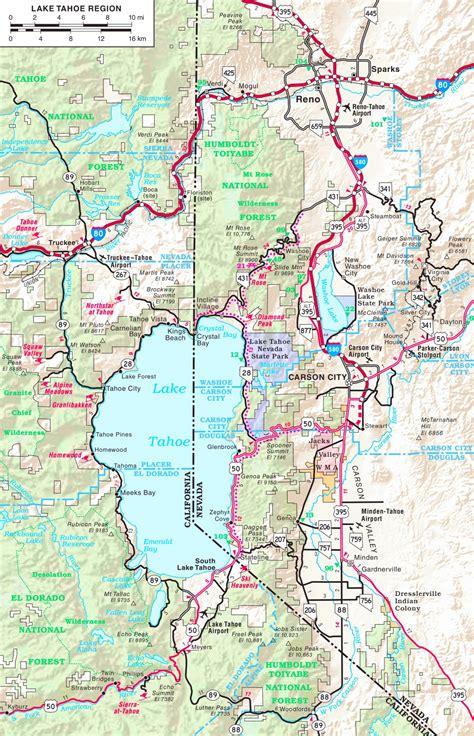 lake tahoe map lake tahoe road map