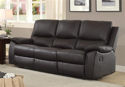 Top Grain Leather Recliner Sofa Homelegance Greeley Reclining Sofa Top Grain Leather Match Brown 8325brw 3 At