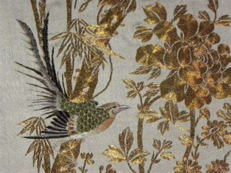 next wallpaper gold birds textile japanese wall hanging embroidery gold thread birds