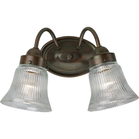 Bronze Vanity Light Fixture Progress Lighting Fluted Glass Collection 2 Light Antique Bronze Vanity Fixture P3288 20 The