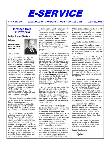 Deals November 13 2006 2 by Messege From Fr Provincial The E Service November 23 2006
