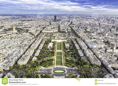 French European House Plans aerial view on champ de mars and invalides in paris
