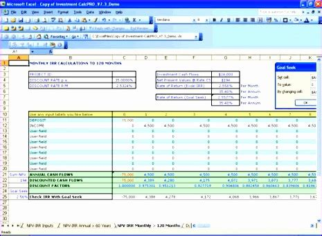npv excel template 8 npv irr calculator excel template exceltemplates