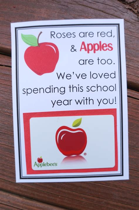 Printable Apple Gift Cards | apple themed teacher gifts free printables teacher