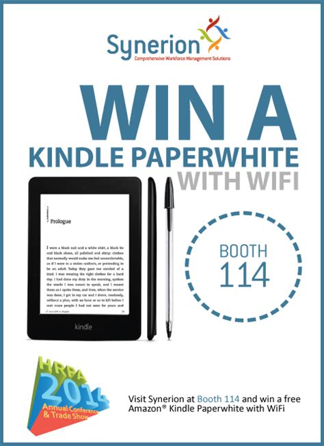win a kindle paperwhite or visit us at booth 114 and win a free kindle paperwhite