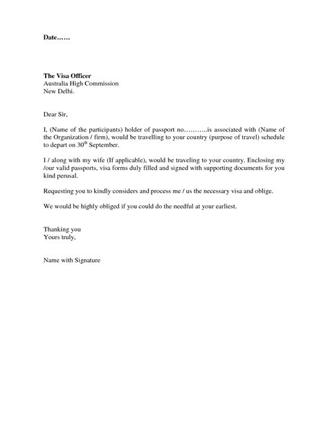 visa covering letter format best template collection