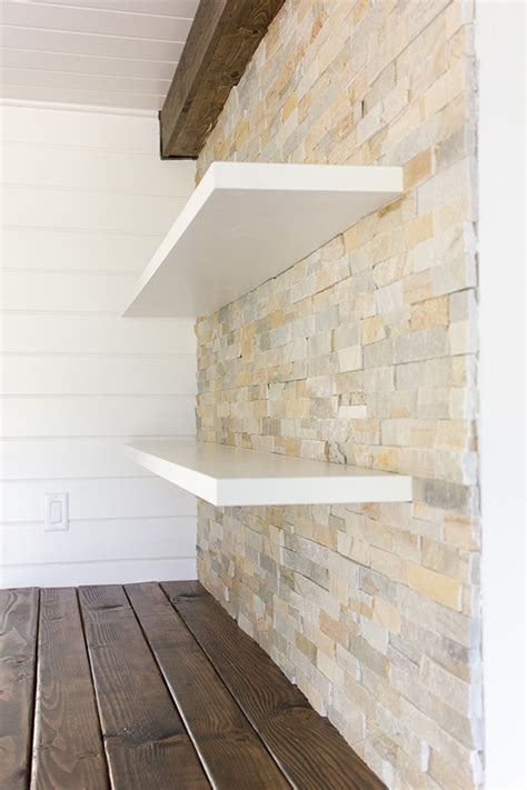 design love fest diy shelves kitchen chronicles stacked stone bar wall diy floating