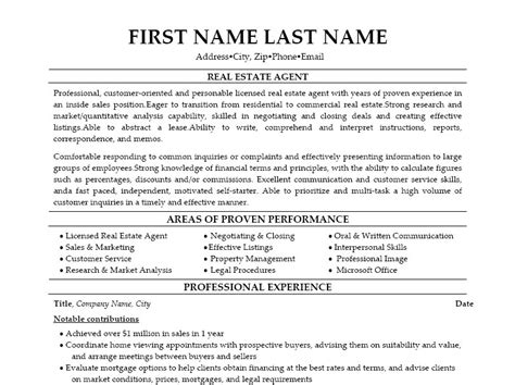Sample Resume For Real Estate Agent The Real Estate Agent Resume Examples Amp Tips Writing