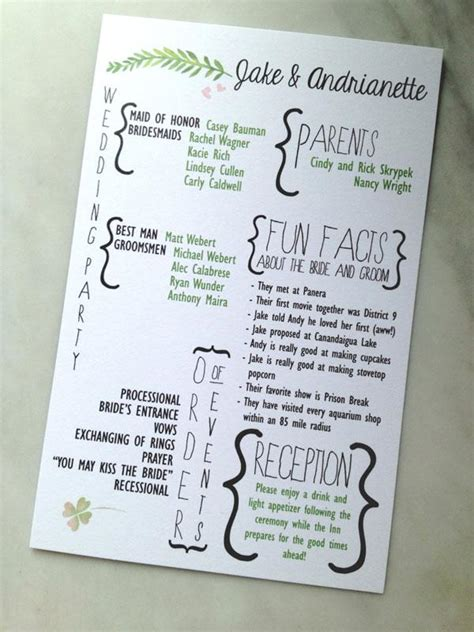 what goes on a wedding program creative wedding programs and what to include weddbook