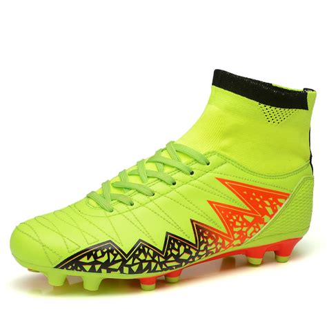 outdoor soccer shoes for high ankle mens green blue fg ag professional soles cleats