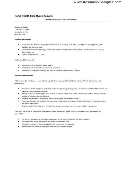 Nursing Resume Sles by Home Care Resume Ftempo