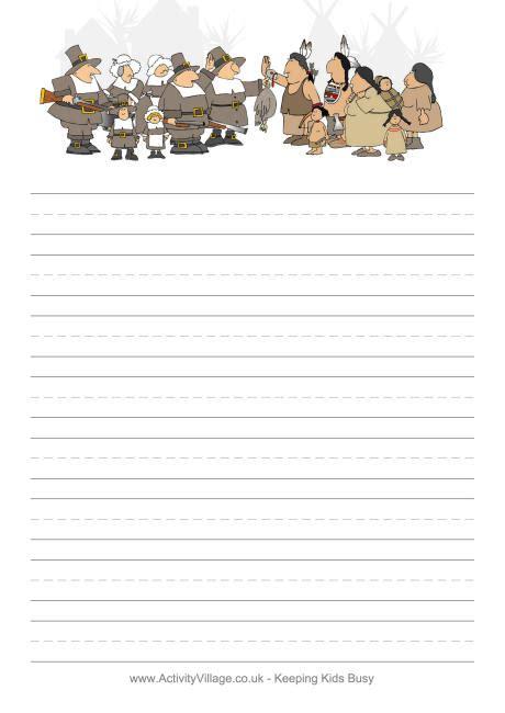 thanksgiving paper template pilgrim writing paper