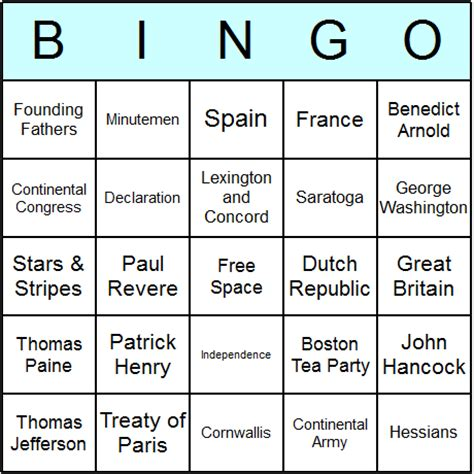 American Revoltion Top Cards Template by American Revolution Bingo Cards Printable Bingo Activity