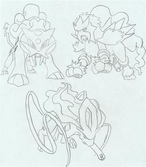 pokemon coloring pages legendary dogs legendary dogs sketch version by fnto on deviantart