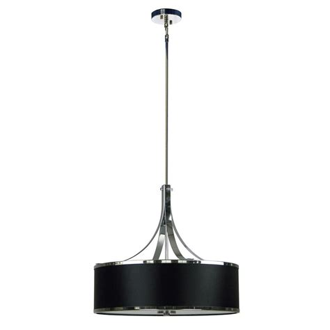 4 Light Pendant Fixture Illumine 4 Light Chrome Chandelier With Black Stealth Fabric Shade Sh2322 Bsch The Home Depot