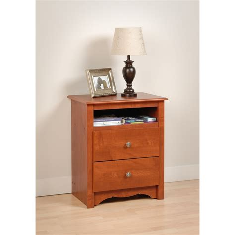 prepac cherry monterey 2 drawer nightstand with open