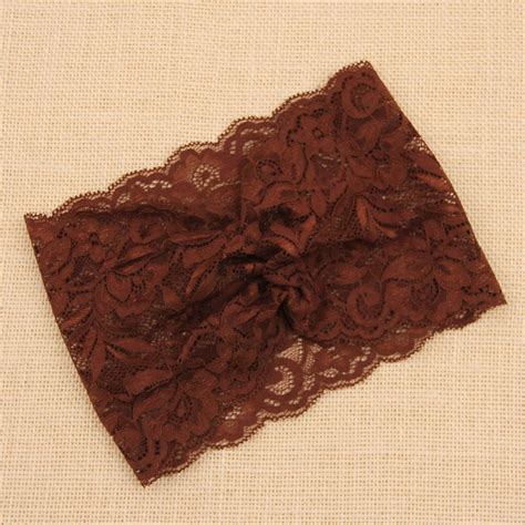 Wide Knit Hair Band womens lace wide stretch hair band crochet floral hoop
