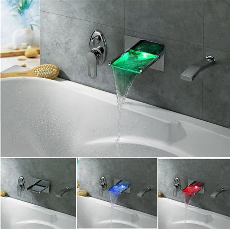 wall mounted bath filler and shower led color changing waterfall wall mounted bath tub filler modern bathroom taps shower