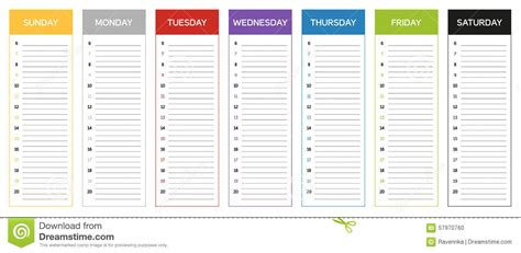 Calendrier Par Semaine Calendrier De Planification De Semaine En Couleurs Du Jour