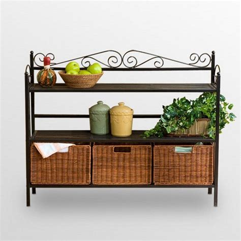 Bakers Rack With Baskets by Metal Bakers Rack Wicker Storage Baskets Shelves Kitchen