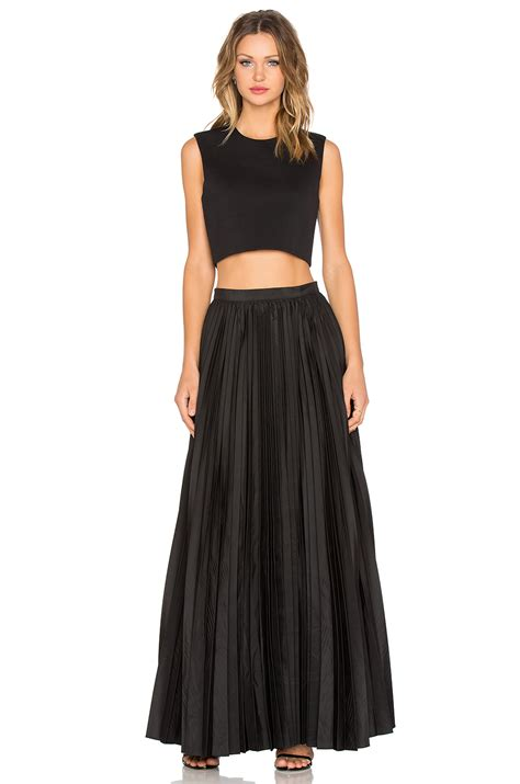 Maxi Black pleated black maxi skirt dress ala