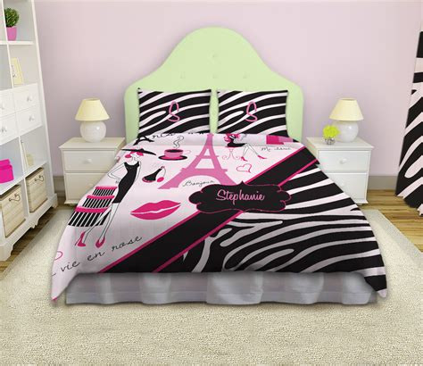 black and white paris bedding eiffel tower girls bedding with paris theme with black and white animal print 14