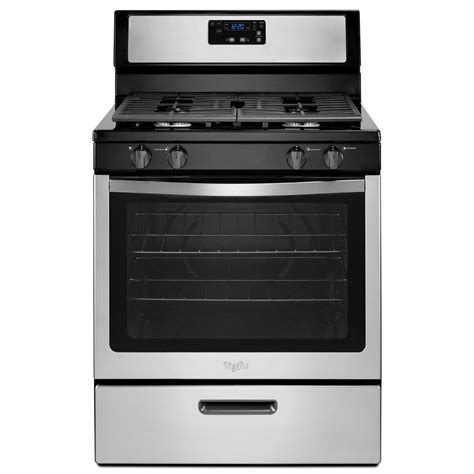 Oven Gas 1 Pintu whirlpool 5 1 cu ft gas range in stainless steel wfg320m0bs the home depot