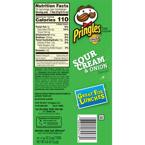 light sour nutrition pringles light sour and nutrition facts