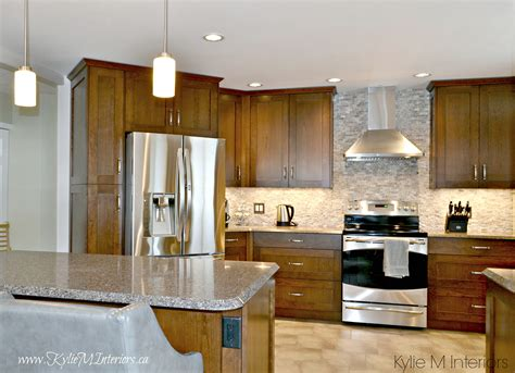 oak kitchen remodel wood cabinets quartz countertops and