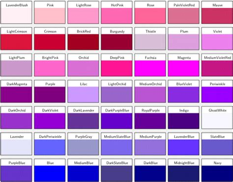 different color schemes different shades of purple and their names roselawnlutheran
