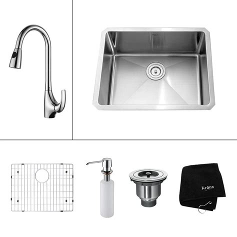 lowes kitchen faucet combo shop kraus kitchen combo 23 in x 18 in steel stainless